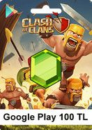 Google Play 100 TL Clash Of Clans